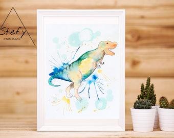 Dinosaur illustration, watercolor dinosaur, colored painting, kid room, wall art, Stefy, Stefy artist, gift idea