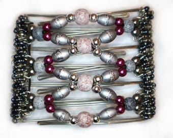 One Clip - Hair Clips on Combs with Gorgeous Grey and fuchsia pink beads
