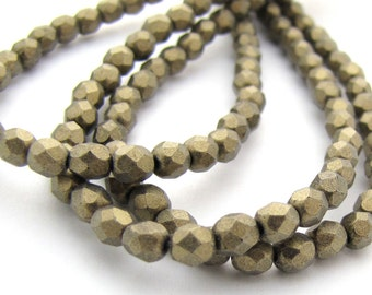Metallic Suede Gold 4mm Facet Round Czech Glass Fire Polished Beads 50pc #2589