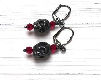 Black Skull Earrings. Tierra Cast Skull. Gothic. Medium Drop Earrings. Dangle Earrings. Red. Black. Handmade Jewelry.