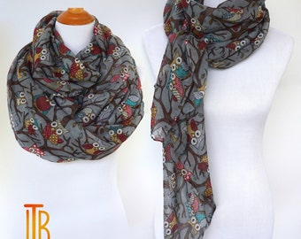 Gray Owl Infinity Scarf, Owl Print Scarf, Spring Summer Shawl Scarves, Fashion Women's Scarf, Bohemian Boho Scarf, Gifts For Her