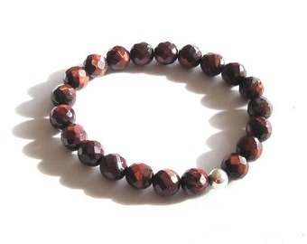 Tiger Eyes Chakra Bracelet Worry Beads, His Her Boyfriend Birthday Husband Gifts, Men Beaded Bracelet Yoga Base Chakra Mala Talisman Jewelry