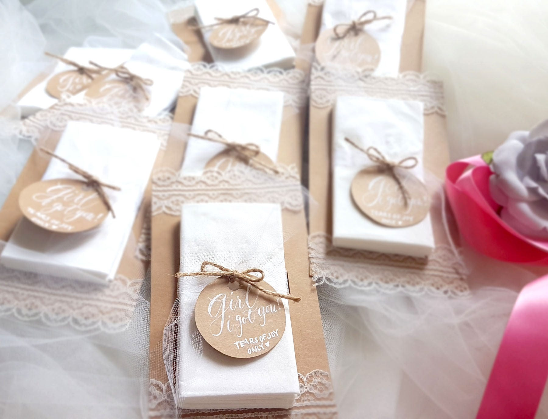 Set of 2 Wedding Tissues Wedding Favours Tears of Joy Only