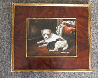 LF44760E: Burl Walnut Frame Puppy Dogs Oil Painting on Board - NEW
