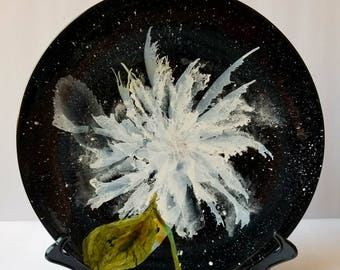 "Alcohol ink painted abstract floral white on black 2 10.5"" ceramic plate. Midnight"