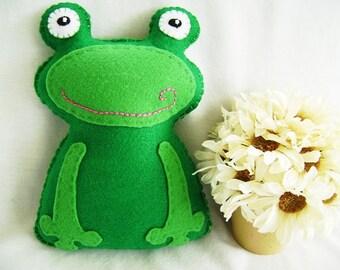 Frog, Felt Frog Stuffed Animal, Stuffed Frog Animal, Frog Felt Animal, Froggie Toy