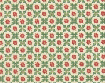 1930s Vintage Wallpaper by the Yard - Red and Green Leafy Geometric Pattern