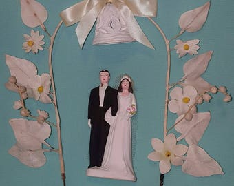 Lovely, vintage 50's, bride and groom, wedding cake topper with original, fabric trellis!