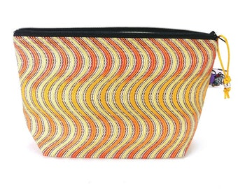 Gusseted Zipper NOTIONS POUCH with zipper pull - Electric Orange