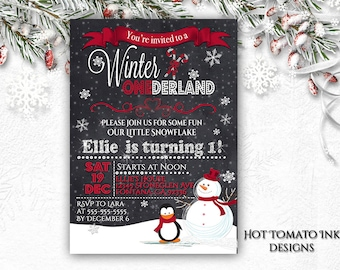 Winter Onderland Red and Silver Invitation- First Birthday-One year old birthday-Holiday Invitation- Winter Wonderland Invitation- Printable