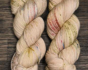 Hand Dyed Yarn - 'Make Believe -' Superwash Merino Nylon Fingering Sock Yarn cream green red yellow speckles 420 yards