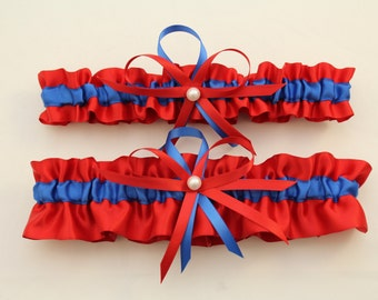 Red and Royal Blue Wedding Garter Set-Your Choice, Single or Set