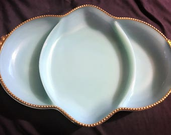 Vintage Fire King Azurite Turquoise and Gold Gilt Divided Relish Tray  Serving Dish