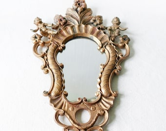 Ornate Vintage plastic Mirror-Vanity Mirror-Gilt Mirror Carved with angels and Flower Design-Shabby Chic-Gilded Mirror