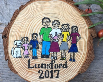 Personalized family ornament or magnet, hand drawn wood slice, 3.5-4 in., rustic painted ornament, couple magnet, pet magnet
