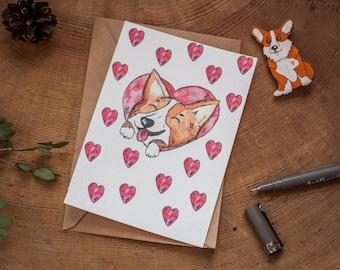 Corgi card / Corgi heart card / corgi love card