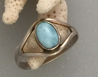 Delicate Larimar and Sterling Ring