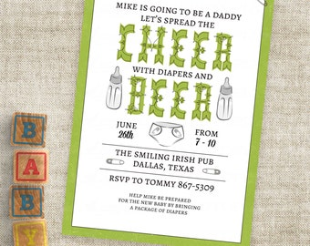Beer and Cheer Man Shower Invitation in Green with Diaper and Baby Bottle Personalized Custom Digital File with Professional Printing