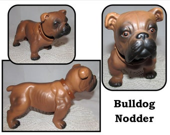 Vintage Brown Bulldog Puppy Dog Nodder, Patent Pending, bobblehead, standing
