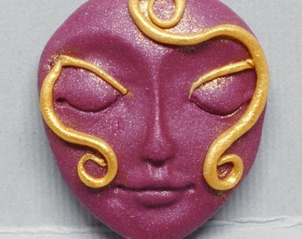 Burgundy and Gold Polymer Clay Art Doll Face Cabochon