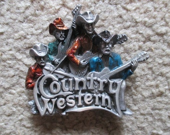 Buckle, Vintage 1981 Bergamot Country Western Band Music, 3-D Relief Sculpture, Made in USA Gray Guitar Fiddle Cowboy Rodeo Texas Two Step
