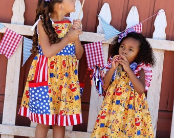 Special - 4th of July Riley Blake fabric pocket Sundress or Clara ruffle Dress Babies, toddlers and girls sizes 0-3 mos up to size 10