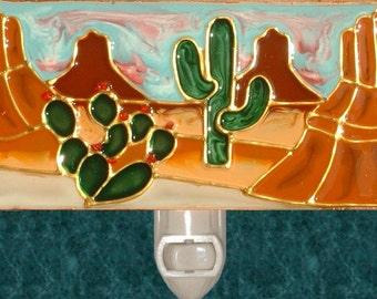 Cactus Southwest Night Light Plug in Desert Nightlight Arizona Art Red Rock Southwestern Southwest Bathroom Decor Stained Glass Cactus Art