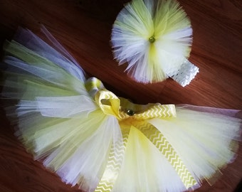 Yellow and White Tutu, Size 12M and up