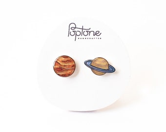 Planet Earrings, galaxy space studs, Jupiter and Saturn earrings, space jewelry