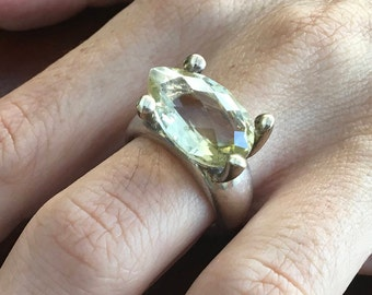 Citrine silver ring, Citrine Ring size 8, Silver citrine ring, November Birthstone Ring, Rectangular citrine ring, Yellow citrine ring,