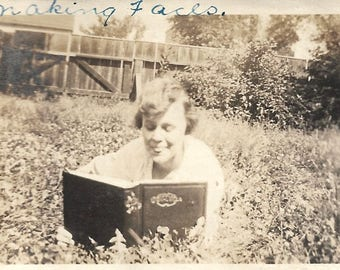 """Vintage Photo """"Making Faces"""" Funny Expression Woman Reading A Book Handwritten Caption Found Vernacular Photo"""