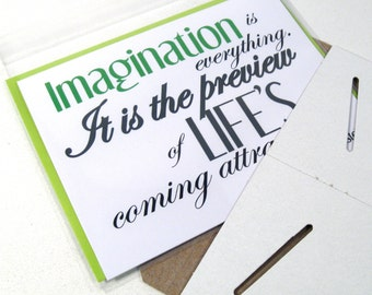 Imagination is Everything Card, Inspiring Greeting, Albert Einstein Quote, Life's Coming Attractions, Inspirational, Motivational ABI101