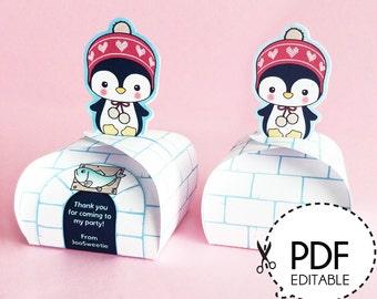 Penguin Mini Favor Box – Printable PDF Download