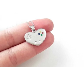 Gamer necklace controller heart pendant game lover sterling silver
