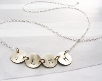 Personalized jewelry, initial necklace, monogram pendant necklace, name necklace, gift for mom, children initial necklace