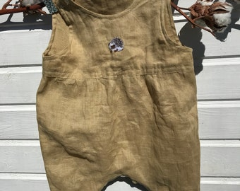 Linen Romper , Safari, Washed Linen, Hand Embroidery, Organic Kids Clothing, Little Alice linen