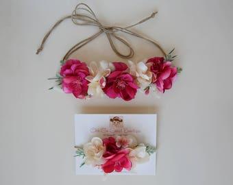 Mommy and Me Flower Crown Set - Flower Crown Tie Back - Little Sister Big Sister Flower Crown - Great Photo Prop