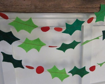 Christmas Holiday Felt Holly Leaves and Berries Party Garland Decoration