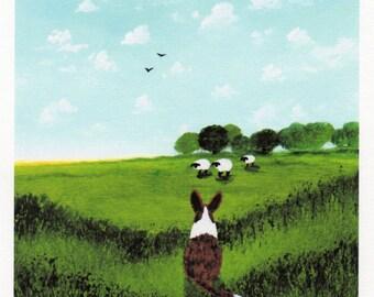Cardigan Welsh Corgi Dog Folk Art PRINT of Todd Young painting Spring Meadow
