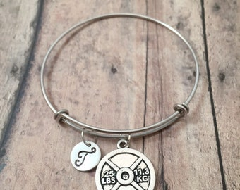 Weight lifter initial bangle - weight lifter jewelry, bodybuilder bracelet, gift for weight lifter, fitness jewelry, gym jewelry