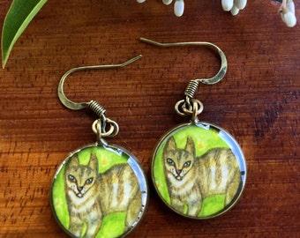 Cat on Grass Earrings