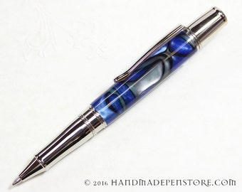 FALCON PRIDE Acrylic and Stainless Steel Handmade ballpoint pen in Liberty style