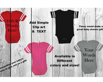 Custom baby onesie, design a onesie, funny onesies with anything you'd like it to say and simple clipart baby shirt, personalized onesie