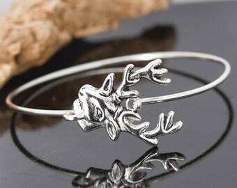 Deer Bangle, Sterling Silver Bangle, Deer Bracelet, Stackable Bangle, Christmas Bangle, Christmas jewelry, Christmas Bracelet