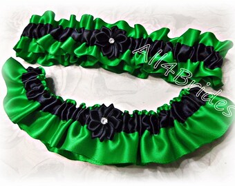 Emerald green and black wedding bridal leg garters, keepsake and toss garter set.  Bridal accessories.