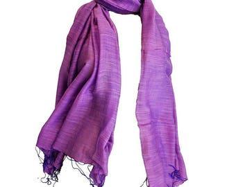 ORGANIC fine silk scarf purple