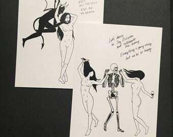 Girls and Demons Art Prints / Greeting Post Cards / Death Satan Devil Skeleton Skull Macabre Witch Goth Occult Dark Tattoo Art