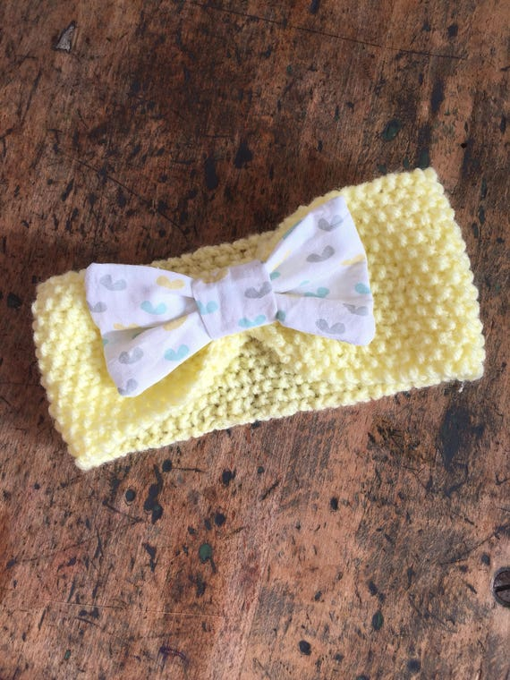 Yellow baby cotton bow headband