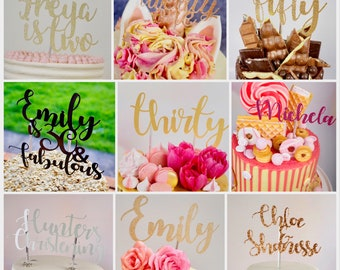 Any message custom script cake topper in a variety of colours!