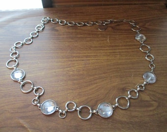 Vintage Silver Metal Chain Belt with Clear gem detail